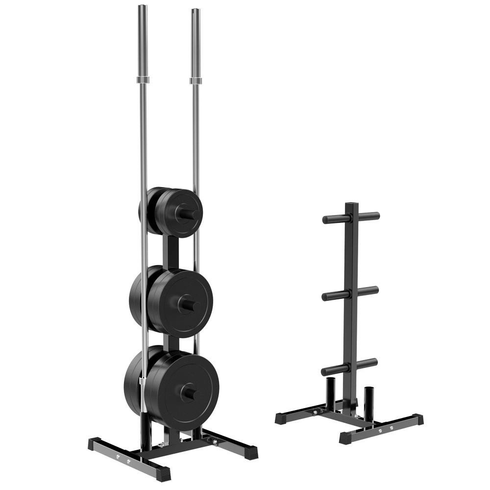 Yaheetech 2 inch Barbell Plate and Dumbbell Racks Tree Olympic Plate Rack Weight Bumper Plate Holder w/ 2 Bar Holder Holds by Yaheetech