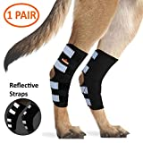 NeoAlly Dog Hind Leg Brace [Pair] Canine Rear Hock Support with Safety Reflective Straps for Joint Injury and Sprain Protection, Wound Healing and Loss of Stability from Arthritis (Black M Pair)