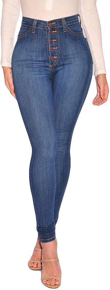 Hx Fashion Jeans De Cintura Jeans Jeans De Alta Mujer Stretch Tamanos Comodos Jeans Finos Hasta La Pantorrilla Pantalones Moda 2019 Ropa De Mujer Amazon Es Ropa Y Accesorios