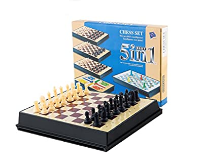 AOQING Chess Set 5 in 1 Magnetic Multipurpose Functional Recycle Material Chess Board Game for little kid (Medium)