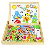 Wooden Magnetic Drawing Board, Double-sided Magnetic Board Jigsaw Puzzle, Letters Alphabets Games for Children 3 4 5 6 7 (90+ PCS)