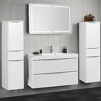 Badezimmer Set Hochglanz weiß Badezimmermöbel Waschplatz Bad Möbel ...