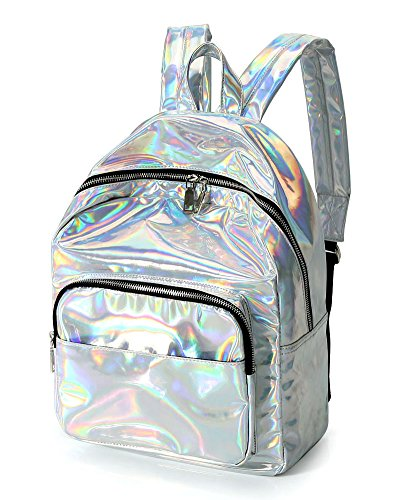 Chunky Satchel - Zicac Girl's Sliver Holographic Laser Leather Backpack Travel Casual Satchel (Silver#2)