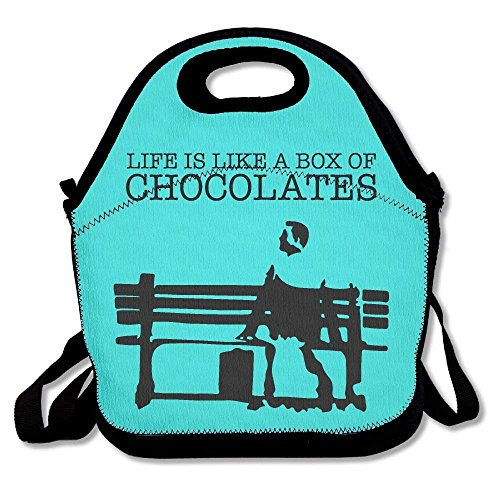 field tree Life Is Like A Box Of Chocolates Mint Green Lunch Bags Insulated Travel Picnic Lunch Box Tote Handbag With Shoulder Strap For Women Teens Girls Kids Adults