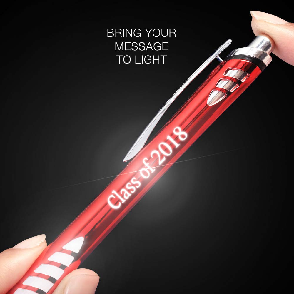 5 Custom Laser-Engraved Metal Ballpoint Stylus Pens With Illuminated Engraving & Soft Glowing Silicone Grip. Available in 5 Colors - Stylus Tip Works with All Touchscreen Devices. by Imprints Online (Image #4)