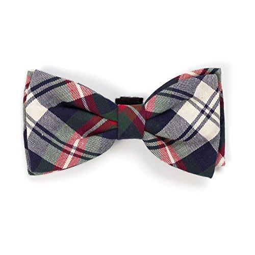 Navy Plaid Bow Tie, Navy Multi, S