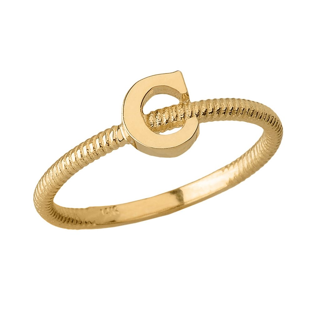 Women's 14k Yellow Gold ''C'' Initial Stackable Rope Design Ring (Size 5) by Modern Contemporary Rings (Image #1)