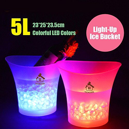 LED Ice Bucket,TECKCOOL 5L Large Capacity Wine Cooler Led Waterproof with Colors Changing,Retro Champagne Wine Drinks Beer Bucket,Power by 2 AA Batteries,for Party,Home,Bar,etc (batteries not -