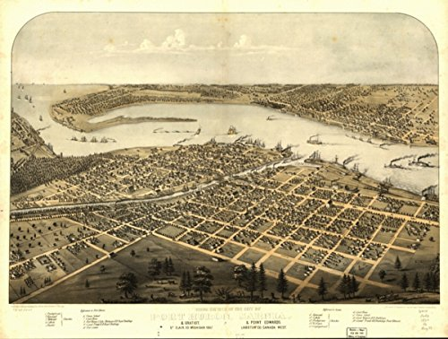 1867 map Birds Eye View of The City of Port Huron, Sarnia & Gratiot, St. Clair Co, Michigan 1867 & Point Edwards, Lambton Co, Canada west|Size 18x24 - Ready to -