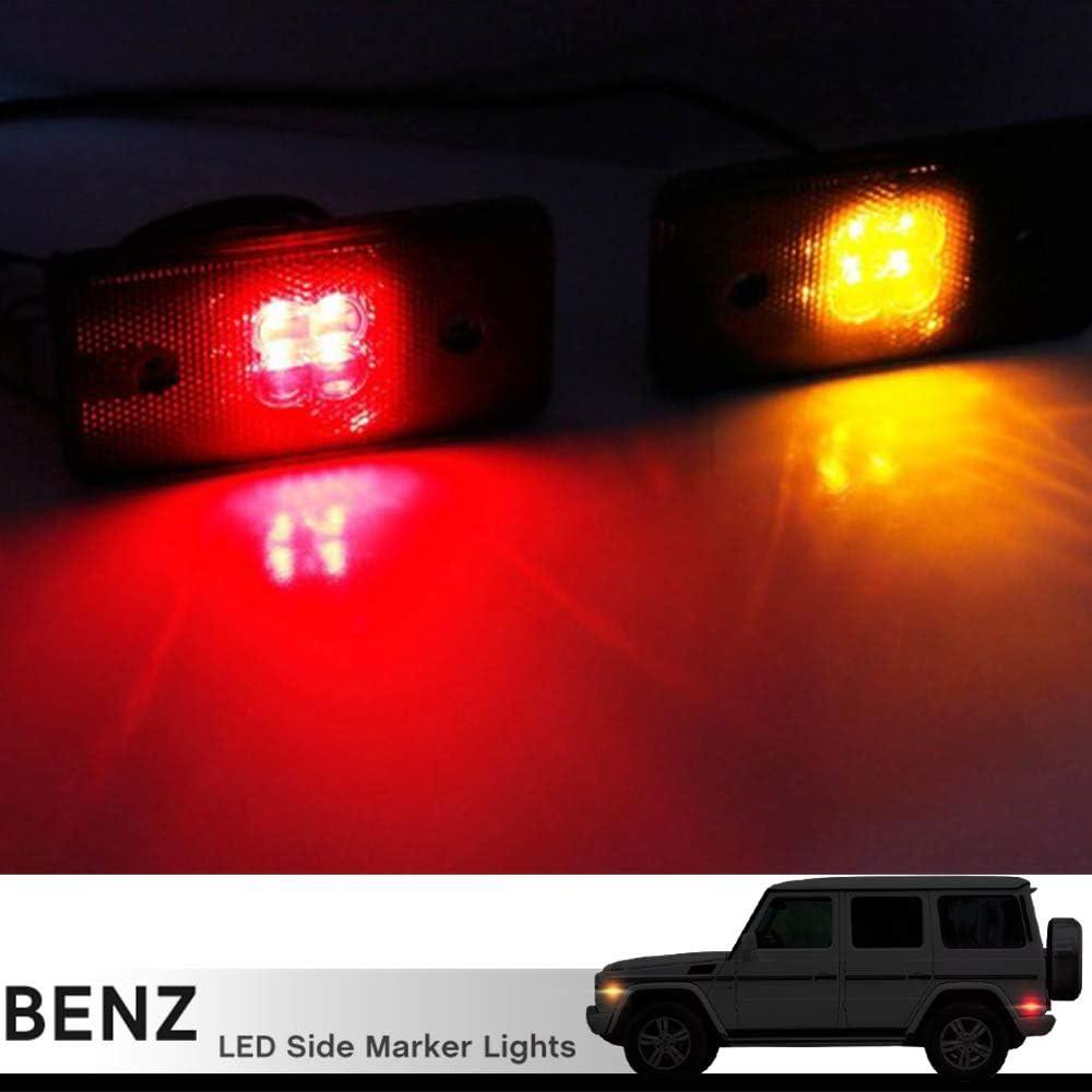 LED Side Marker Light Ktis for 2002-2014 Mercedes Benz W463 G500 G550 G55 G63 Amber LED Front Turn Signal Lamps Red Led Rear Driver Passenger Black Smoked Lens OEM Sidemarker Lamps Replacement