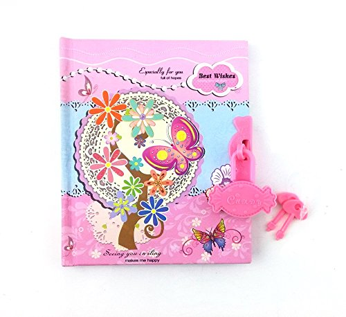 Honbay Flower Butterfly Mini Diary Journal Notebook with Plastic Lock and Keys (Pink) - Flowers Mini Journals