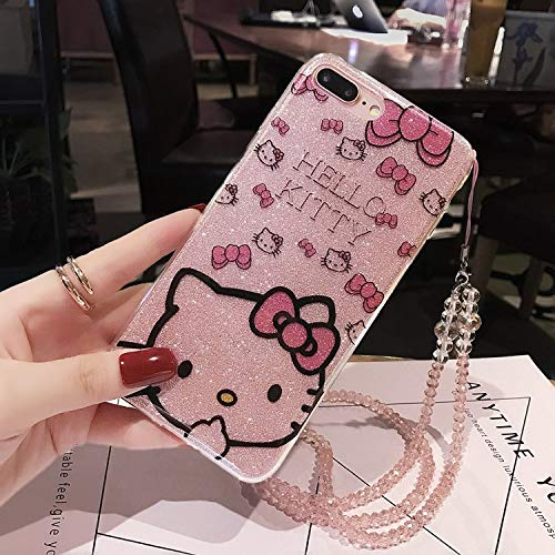 iPhone Xs Max 6.5-inch Glitter Bling Cartoon Hello Kitty Case for iPhone Xs Max 6.5-inch Bling TPU Cover Cute Funda Coque Case with Gem Stone Diamond ...