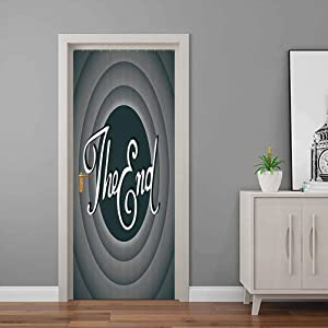 1950s Decor Collection Door Decal Vintage Movie Ending Screen Camera Hollywood Industry Historic Entertainment Film Television Image - Welcome Door Decal for Home Decor Grey | 38.6
