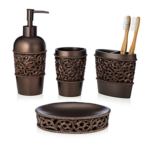 EssentraHome 4-Piece Bronze Bathroom Accessory Set, Complete Set Includes: Toothbrush Holder, Lotion Dispenser, Tumbler and Soap Dish ()