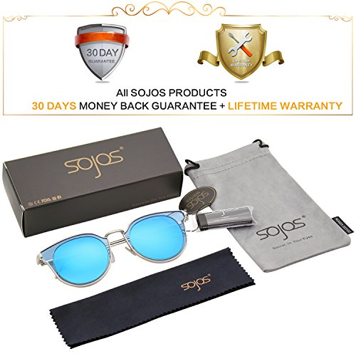 C5 Unisex De Espejo Protecciòn Polarizadas Marco Plateado SOJOS Vintage Lentes Sol Azules Lentes UV Gafas SJ1057 xPqS1