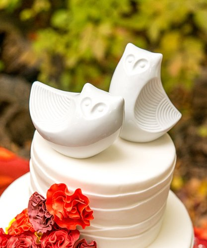 Porcelain Owl Pair Figurines Cake Topper
