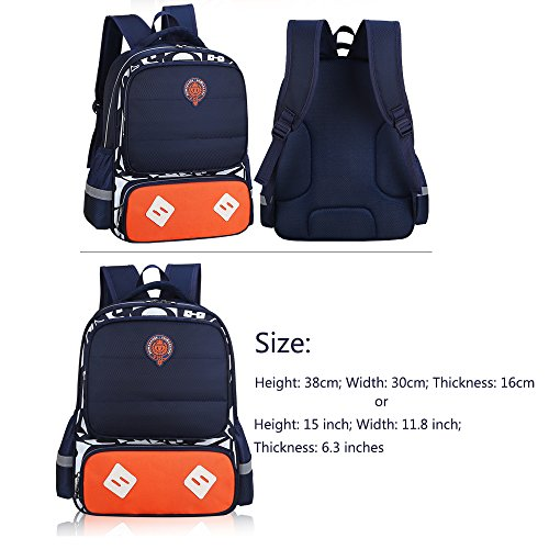 Breathable Blue Waterproof Kids Bags Small Nylon Backpacks Book Satchel Reflective Boys Backpack Student ZHIMABABY Daypack Bags Design Night Girls for School Royal 15wO677qW