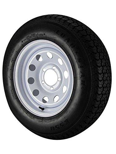 ST205/75D14 Loadstar Trailer Tire LRC on 5 Bolt White Mod Wheel