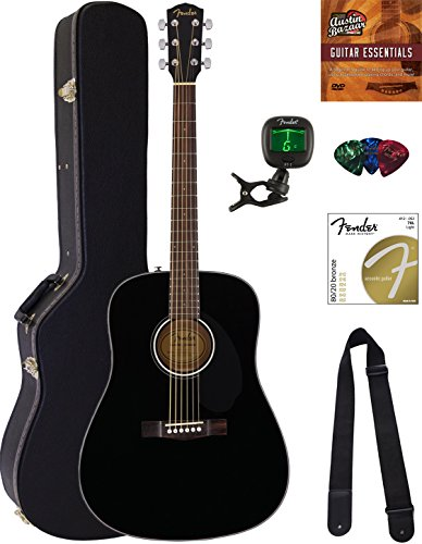 Fender CD-60S Dreadnought Acoustic Guitar - Black Bundle with Hard Case, Tuner, Strap, Strings, Picks, Austin Bazaar Instructional DVD, and Polishing Cloth (Straps Fender Guitar Acoustic)