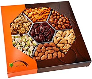 Five Star Gift Baskets® Holiday Nuts Gift Basket - Delightful Gourmet Food Gifts Prime Delivery -Birthday, Christmas, Mothers & Fathers Day Fruit Gift Box Assortment, Men, Women, Families & Corporate