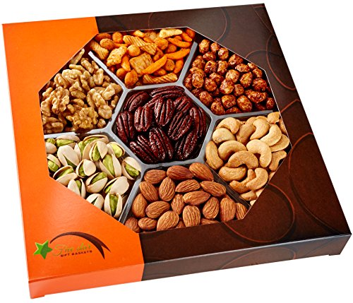 Nuts, Gift Baskets - Gourmet Food Baskets, Nuts Gift Basket - Mixed Nuts - Nut Baskets Gifts - 7 Sectional, Fruit Basket - Five Star Gift (Holiday Food Gifts)