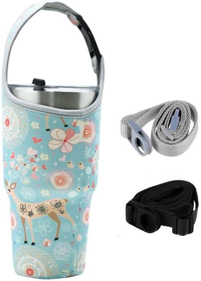 YouZi Tumbler 30 oz Carrier Handle Bag w/Shoulder Strap Fit for Rtic, Atlin, Ozark Trail,YETI Rambler 30 oz Insulated Tumbler Coffee Cup (Blue Deer)