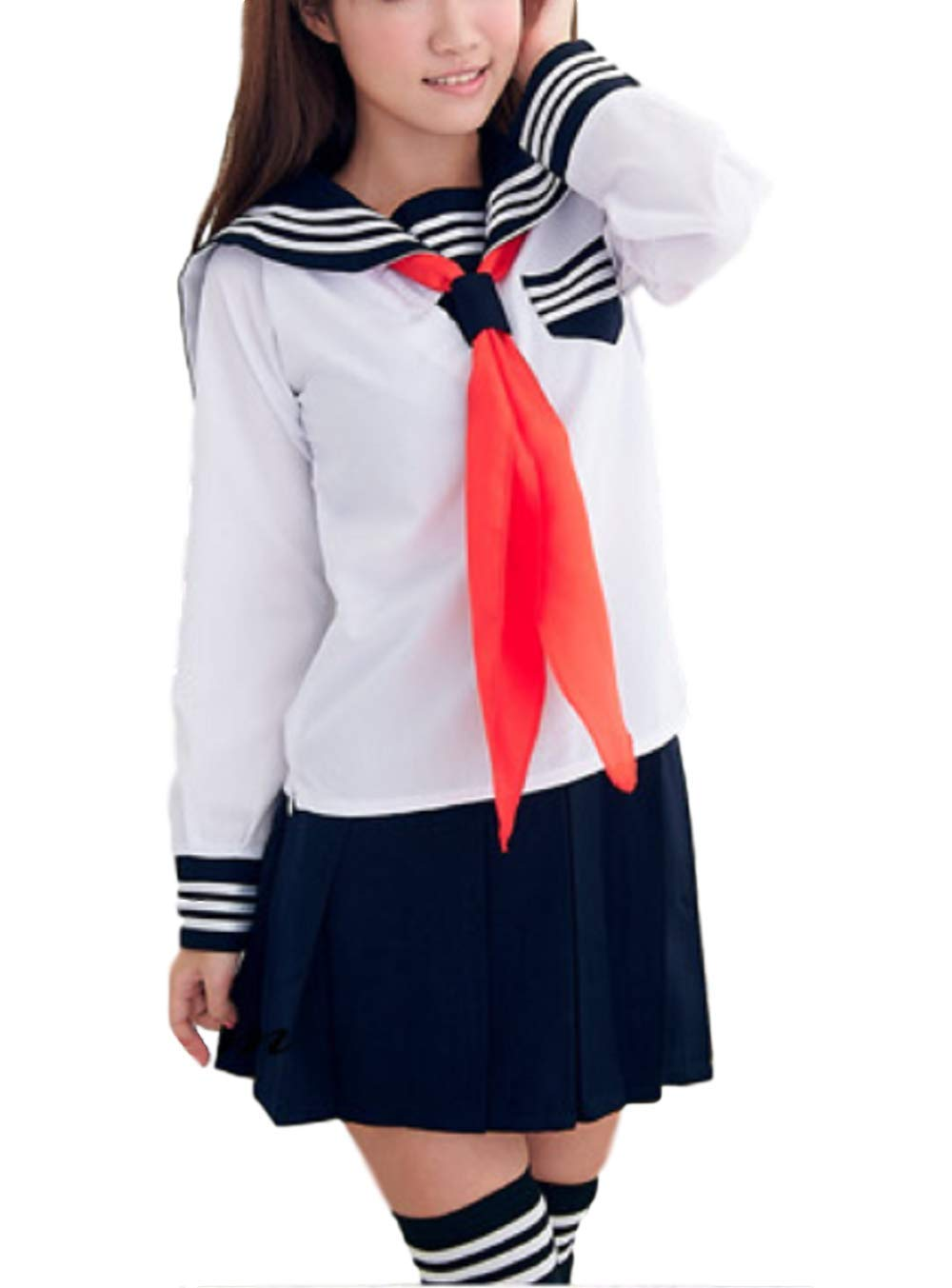 EMONJAY Women's Sailor Suit Japanese School Uniform Cosplay Costume with Socks (Large, White)
