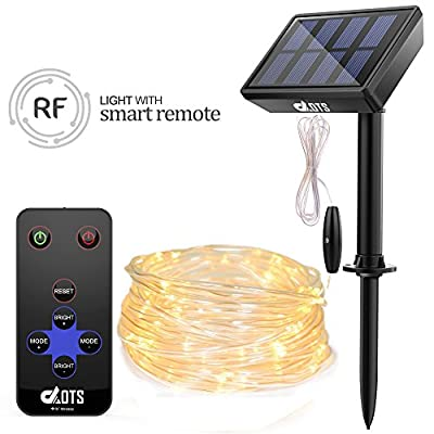DAOTS Solar Powered String Lights Outdoor with Remote, 33ft 100 LED Rope Lights for Christmas Tree, Party, Garden, Patio Deco Waterproof Copper Wire Fairy Lights with Clips