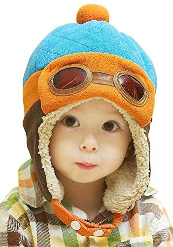 Little Kids Boys Fleece Lining Aviator Pilot Earflap Hat Blue