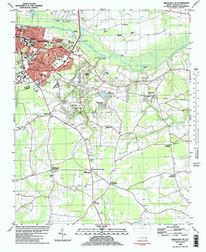 YellowMaps Greenville SE NC topo map, 1:24000 Scale, 7.5 X 7.5 Minute, Historical, 1982, Updated 1982, 26.8 x 22 in - Tyvek