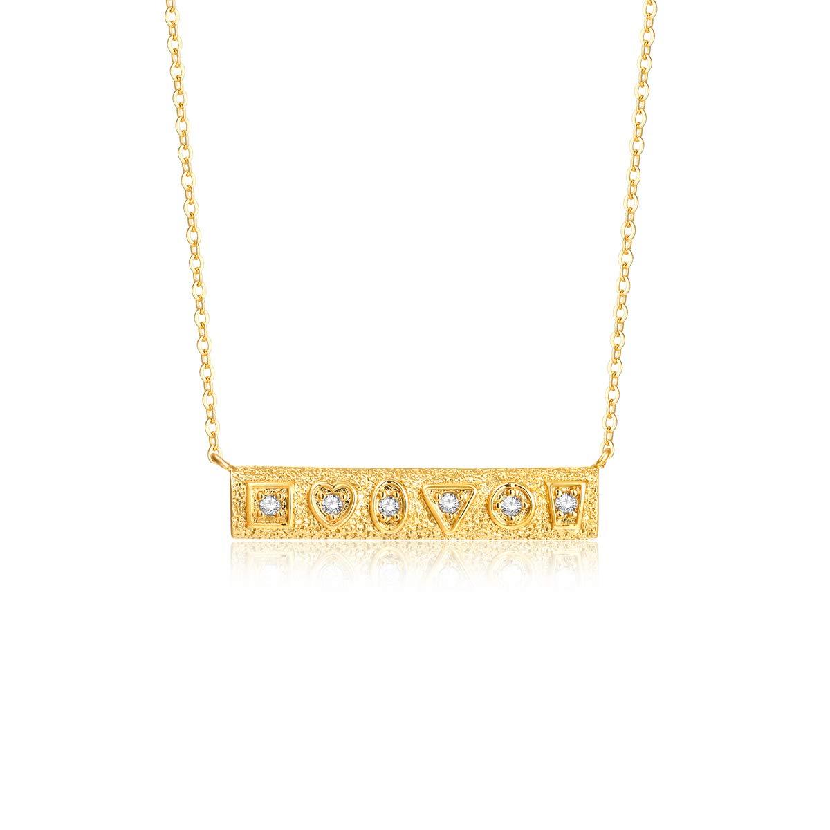 Mevecco Gold Bar Textured Geometric Bridesmaid Pendant Necklaces,18K Gold Filled Colorful Enamel Dainty Chain Horizontal Pendants CZ Necklaces for Women