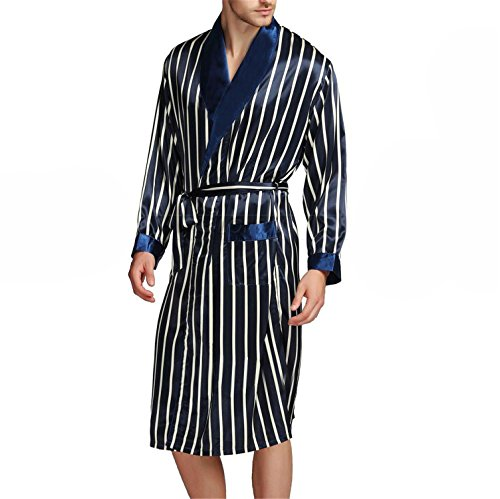 Silk Flannel - Susan1999 Mens Silk Satin Pajamas Pajama Sleepwear Robe Robes Nightgown Robes S M L XL 2XL 3XL Plus Beige Blue Striped Navy Blue XL