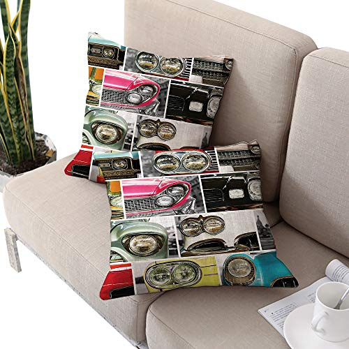 1960s Decorations Collection Square lumbar cushion cover ,Classic Cars Retro Automobile Collage Bumper and Headlights Classics Old Style Pink Black Red Cushion Cases Pillowcases for Sofa Bedroom Car