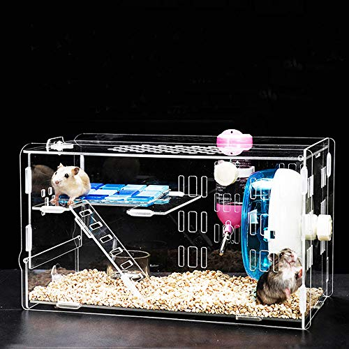 (Tfwadmx DwarfHamsterCage, Acrylic Cage Tank with Water Bottle, Run Wheel, Climbing Ladder, Food Bowl, Small Animal Cage for Guinea Pig Rat Gerbil Chinchilla Hedgehog Sugar)