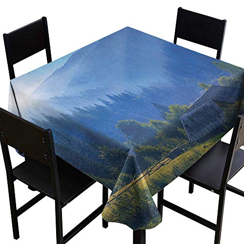 SKDSArts Wholesale tablecloths Rustic,Mountain Village Ukraine Rising Sun Pine Trees Forest Wooden House Nostalgic Photo, Green Blue,W50 x L50 for Cards