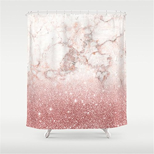 Elegant Faux Rose Gold Glitter White Marble Ombre Shower Curtain 60x72 inch