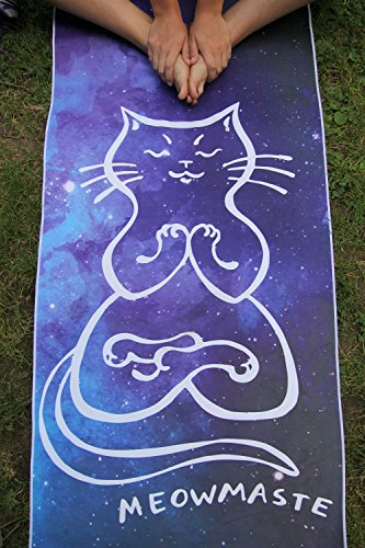 Shanti Love Meowmaste Yoga Towel Super Soft and Luxurious Suede Microfiber Hot Yoga Mat Towel | Sweat Absorbent, Non Slip & Machine Washable