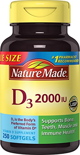 Nature Made Vitamin D3 2000 IU Softgels Value Size 250 Ct