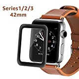 Apple Watch 42mm Full Coverage Screen Protector (Series 1, Series 2, Series 3), Atill Tempered Glass Screen Protector [Anti-scratch] [Bubble-free] for Apple iWatch 42mm Series (1 Piece)