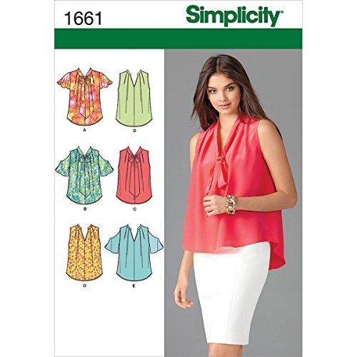Sewing Patterns Blouses (Simplicity 1661 Misses' Blouses Sewing Pattern, Size U5 (16-18-20-22-24))