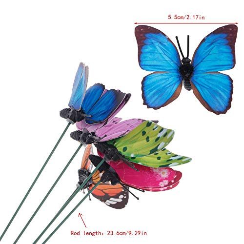 Garden Butterfly - Colorful Fairy Butterfly On Stick Ornament Home Garden Vase Lawn Craft Decor - Wire Decor Ornaments Solar House Butterflies Lighgs Garden Light Stones Sticks Netting Stakes Fl