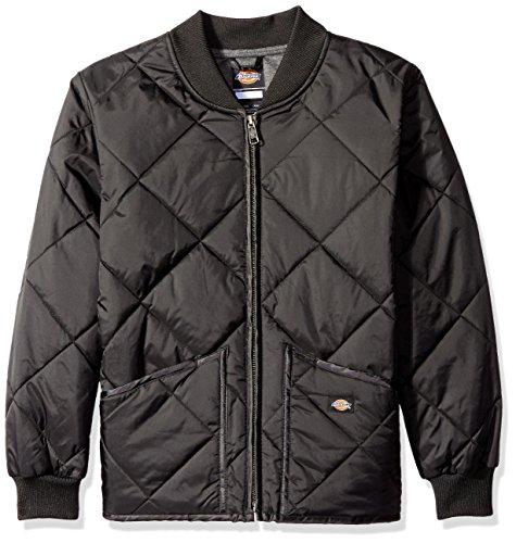 (Dickies Big Boys' Quilted Nylon Jacket, Black, Large (14/16))