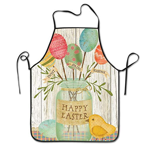 FUNINDIY Bib Apron Spring Egg Bouquet Easter Kitchen Apron Waterproof for Cooking Chef Baker Servers BBQ Craft Men Or Women 20