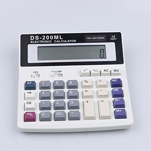 Office Usage Multi-function Electronic Calculator Large Keys Dual Power Computer 12 Digits Counting Number LED (Ballistic Game Halloween)
