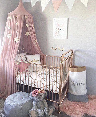 SpringBuds Princess Bed Canopy Mosquito Net for Kids Baby Crib, Round Dome Children Castle Play Tent Hanging House Decoration Reading nook Cotton Canvas-Height 95in Pink