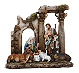 Pillar Ruins Holy Family 11.5 x 12.5 inch Christmas Nativity Table Top Figurine