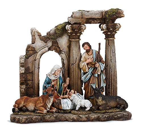 Pillar Ruins Holy Family 11.5 x 12.5 inch Christmas Nativity Table Top Figurine by Napco Imports
