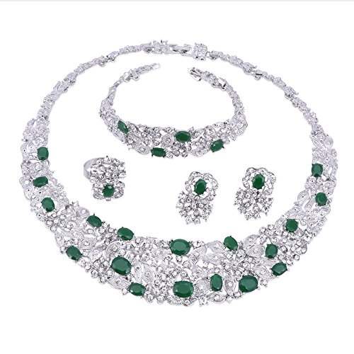 Women Bridal Fine Rhinestone Crystal Jewelry Sets For Wedding Party Dinner Dress Necklace Earring Bangle Ring Kit Gifts (Green) -