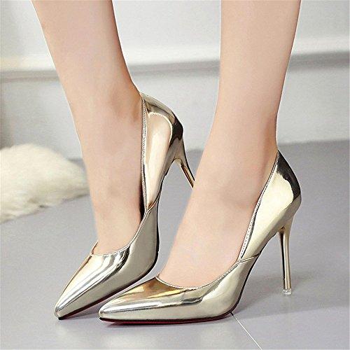 HXVU56546 Durante La Primavera Y El Otoño Los Nuevos Zapatos De Mujer Fina Con Tacones Moda Calzado Único Partido Gold