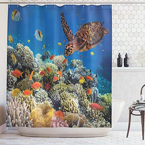 Ambesonne Ocean Decor Collection, Colorful Fishes and Old Turtle Coral Reefs Dahab Red Egyptian Sea Picture, Polyester Fabric Bathroom Shower Curtain Set, 84 Inches Extra Long, Orange Brown